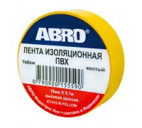 Изолента ПВХ ABRO EТ-912, желтая, 19ммх9.1м.,  упаковка 10шт