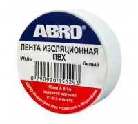 Изолента ПВХ ABRO EТ-912, белая, 19ммх9.1м., упаковка 10шт