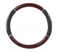 Оплётка на руль автомобиля  гелевая, черная с вставками 'красное дерево', (размер М)