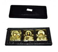 Икона автомобильная 'Святая троица' (самоклеющ.) в ризе (размер 13*6см) бронза