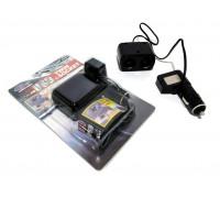 Разветвитель прикуривателя WF-0097 на 2 гнезда с  USB 12/24V