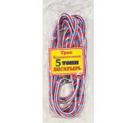 Трос  буксировочный 'веревка альпинистская'  БОГАТЫРЬ ( 5т., 2 крюка, диаметр 12мм.) в пакете