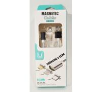 Кабель USB магнитный 'MAGNETIC', разъем- Apple Lightning , длина 1,2м, белый