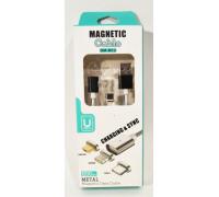 Кабель USB магнитный 'MAGNETIC', разъем- Type C , длина 1,2м, белый