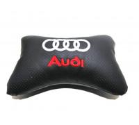 Подушка автомобильная на подголовник, косточка, AUDI ортопедическая. эко-кожа