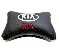 Подушка автомобильная на подголовник, косточка, KIA ортопедическая. эко-кожа