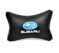 Подушка автомобильная на подголовник, косточка, SUBARU ортопедическая. эко-кожа