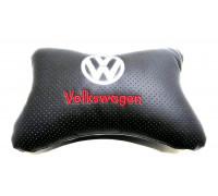 Подушка автомобильная на подголовник, косточка, VW ортопедическая эко-кожа