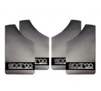 Брызговик универсальный [ALMEGA] цвет-карбон металлик черный , для легковых автомобилей  (4шт.)