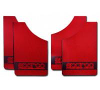 Брызговик универсальный [ALMEGA] цвет-карбон металлик красный , для легковых автомобилей  (4шт.)