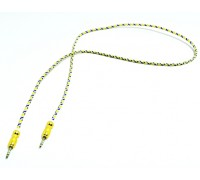 Кабель для мультимедии AUX длина 1м, оплетка-ткань, цвет-золото