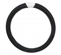Оплётка на руль автомобиля  экокожа, черная с белыми вставка, (размер М)