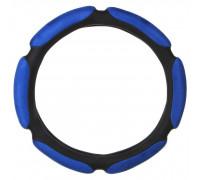 Оплётка на руль автомобиля спонж, 6 подушек, синий, (размер М)