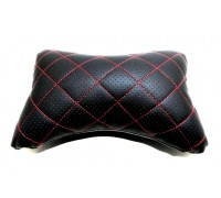 Подушка автомобильная на подголовник, косточка, черная - ромб красн строчка, ортопедическая эко-кожа