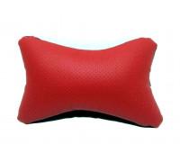 Подушка автомобильная на подголовник, косточка, красная, ортопедическая эко-кожа