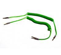 Кабель для мультимедии AUX длина 1м, оплетка-спираль, цвет-зеленый