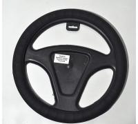 Оплётка на руль автомобиля   экокожа, черная рифленная (размер М)