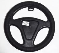 Оплётка на руль автомобиля   экокожа, черная комбинированная (размер М)
